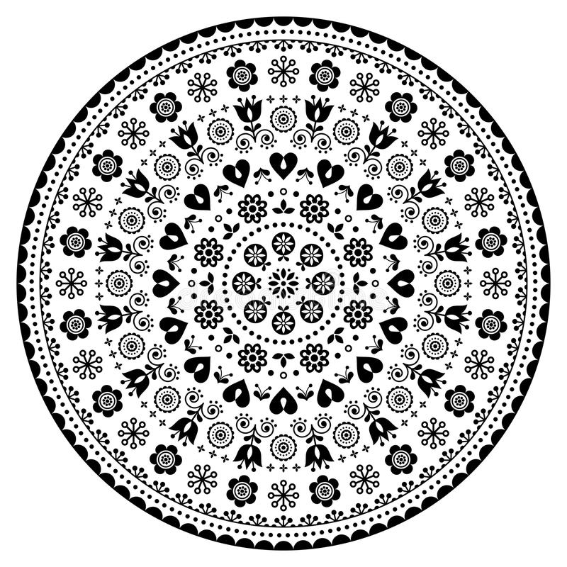 Bloemen Skandinavisch mandalaontwerp, volkskunst naadloos vectorpatroon met bloemen, zwart-wit bloemen herhaald ornament royalty-vrije illustratie