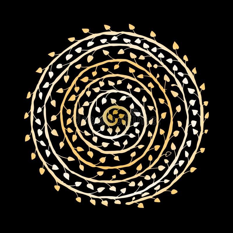 Bloemen spiraalvormig ornament, gouden schets voor uw ontwerp royalty-vrije illustratie