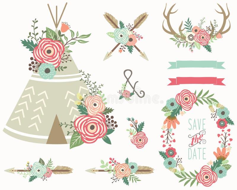 Bloemen Stammeninzameling vector illustratie