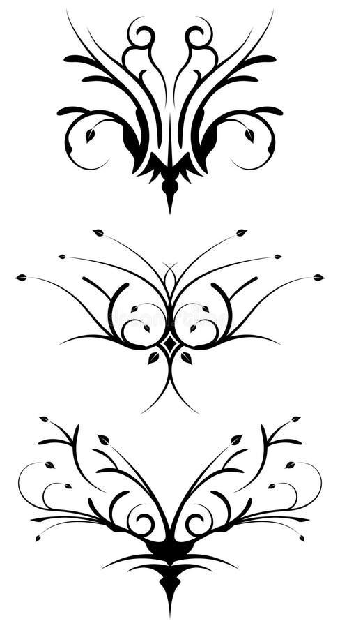 Bloemen stammenontwerpelementen vector illustratie