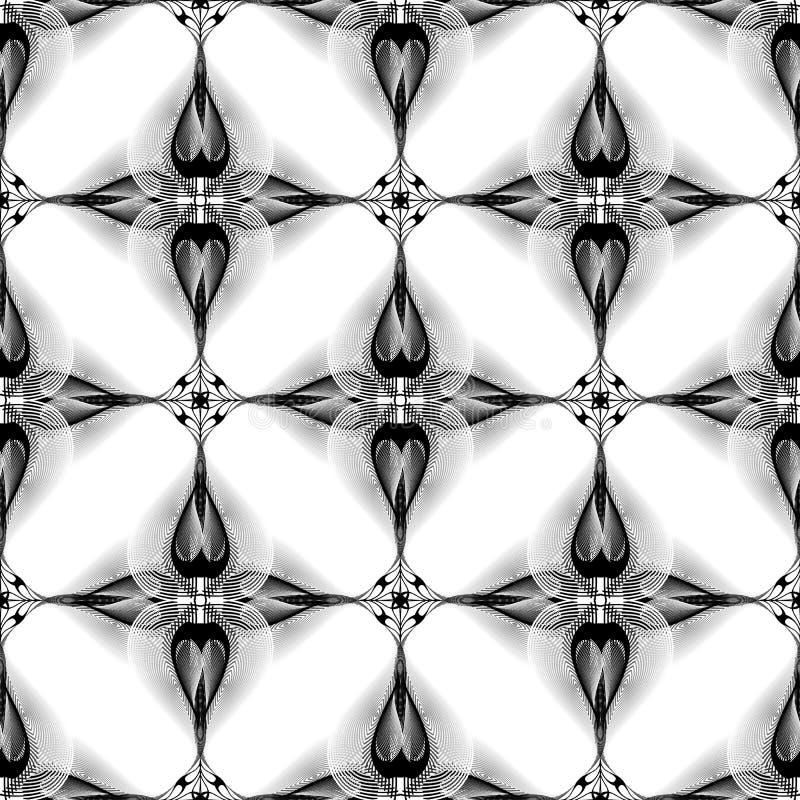 Bloemen trillend halftone lijnen naadloos patroon Elegantie sier zwart-witte vectorachtergrond Modern abstract lijnart. royalty-vrije illustratie