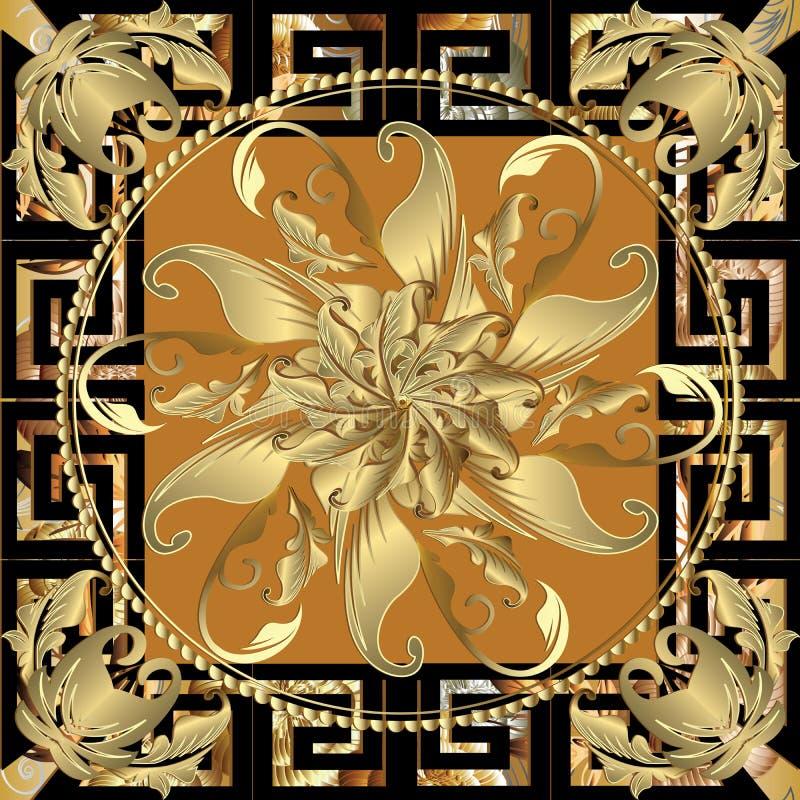 Bloemen uitstekend barok paneelpatroon Tracery decoratieve ronde 3 stock illustratie