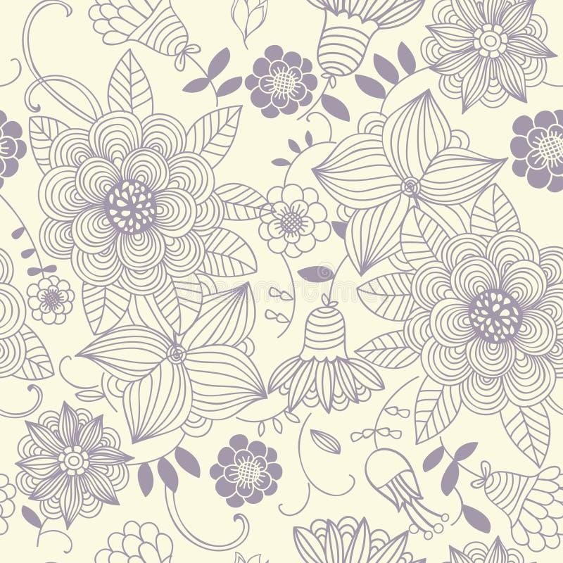Bloemen uitstekend naadloos patroon stock illustratie