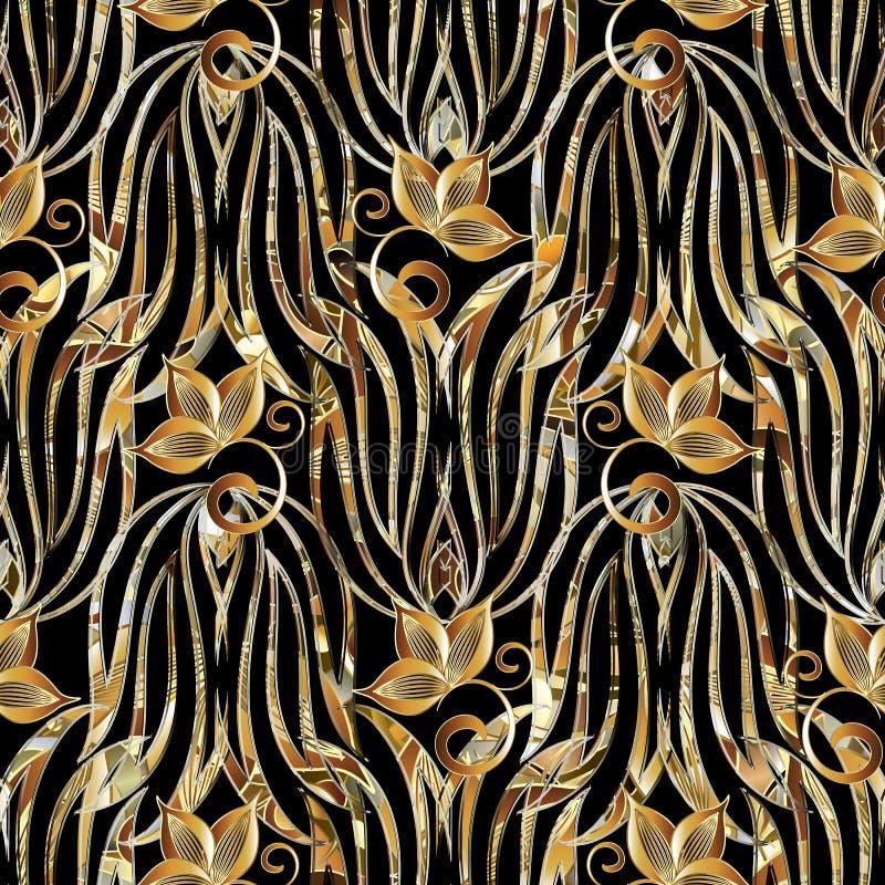 Bloemen uitstekend naadloos patroon Vectorachtergrond met goud han royalty-vrije illustratie