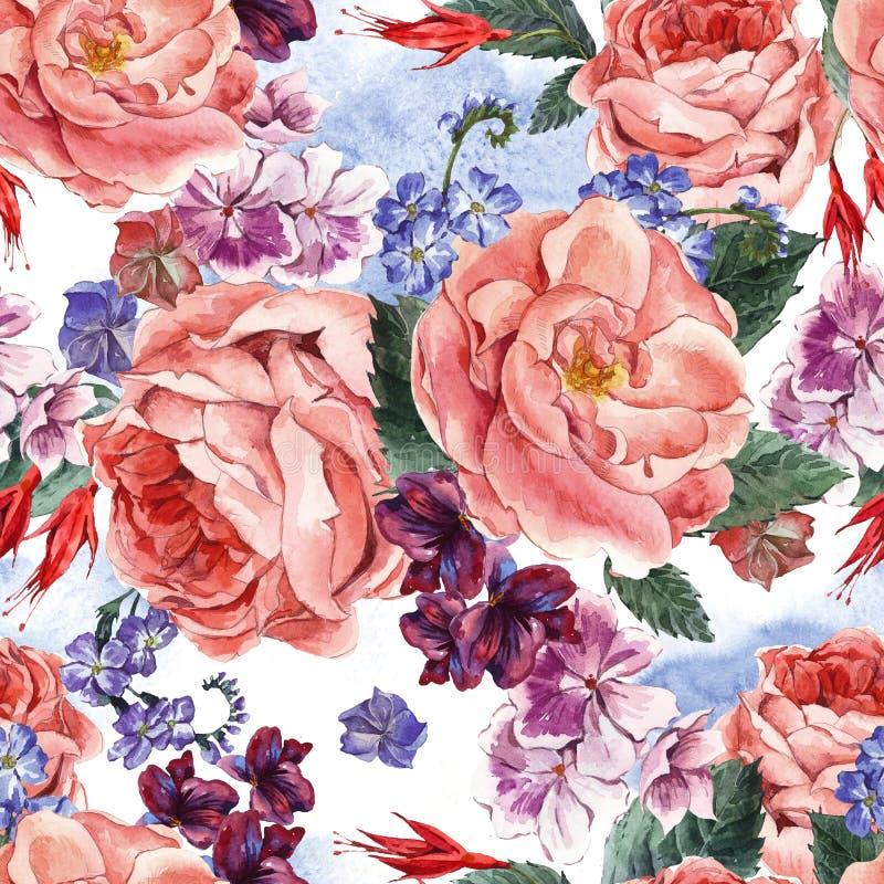 Bloemen Uitstekend Naadloos Patroon, waterverf vector illustratie