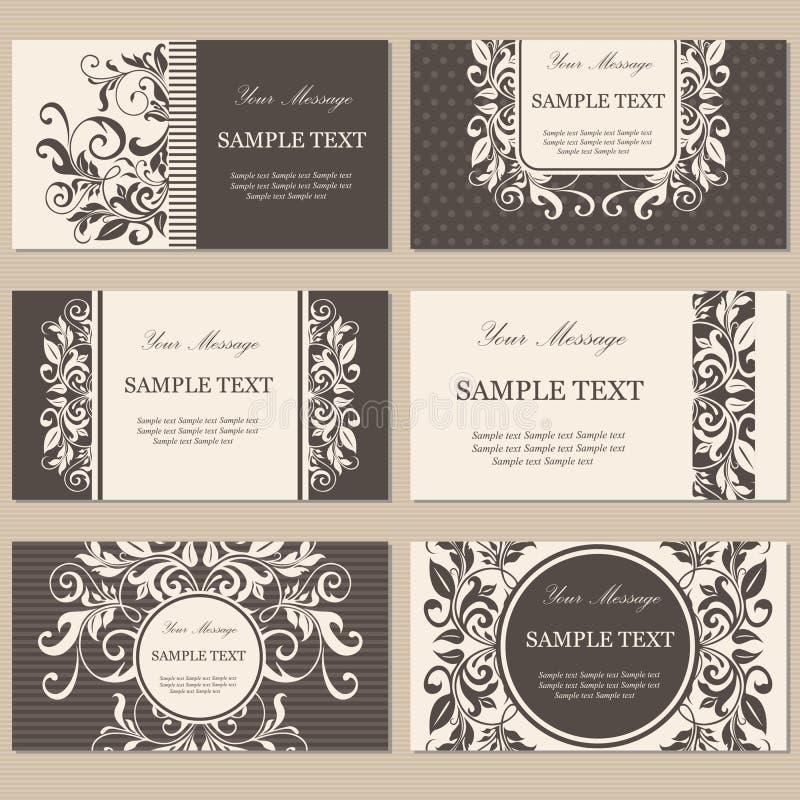 Bloemen uitstekende bedrijfs of uitnodigingskaarten stock afbeelding