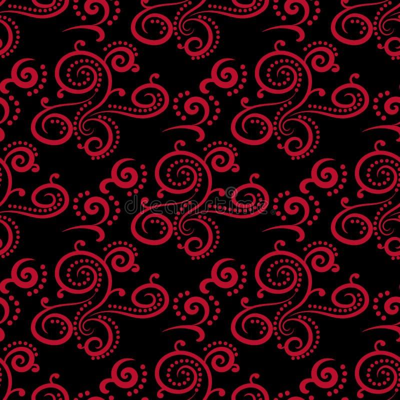 Bloemen uitstekende ornamenten Zwarte en rode naadloze patronen voor stof en behang royalty-vrije illustratie