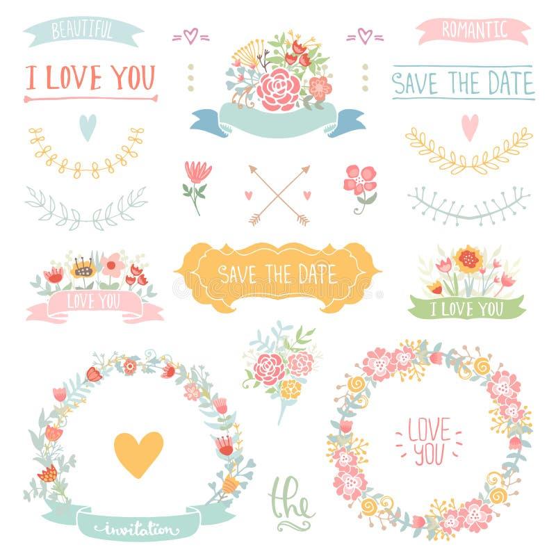 Bloemen uitstekende reeks vector illustratie