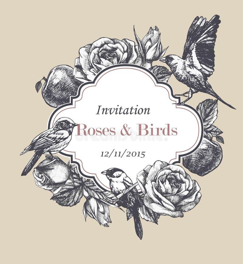 Bloemen uitstekende uitnodiging met hand-drawn tuinrozen, appelen en vogels Vector vector illustratie
