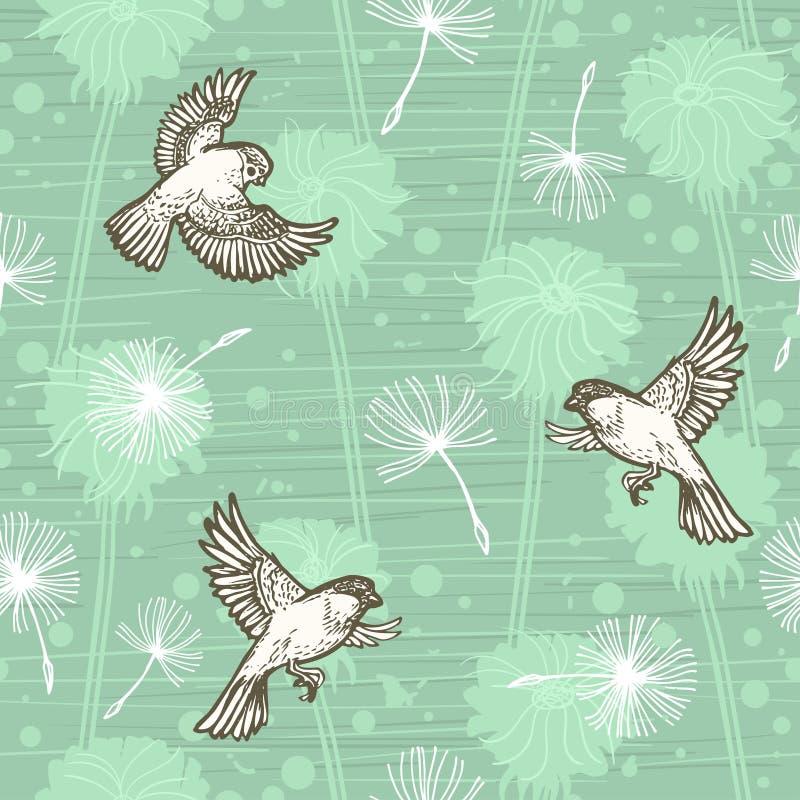 Bloemen van de krabbel de hand getrokken paardebloem en vliegende vogels op blauw Vector naadloos minimalistic patroon Eindeloos  vector illustratie