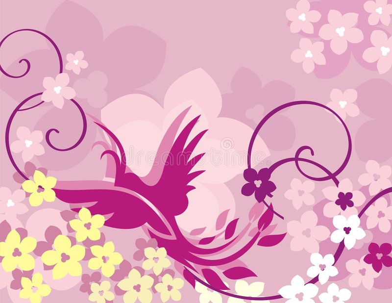 Bloemen van de Vogel Reeks Als achtergrond stock illustratie