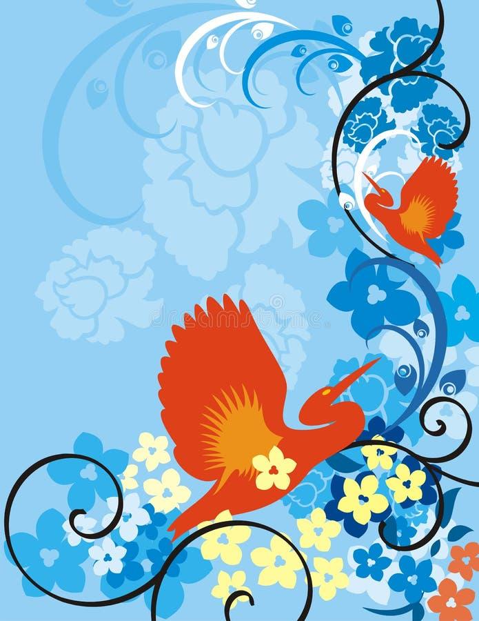 Bloemen van de Vogel Reeks Als achtergrond vector illustratie