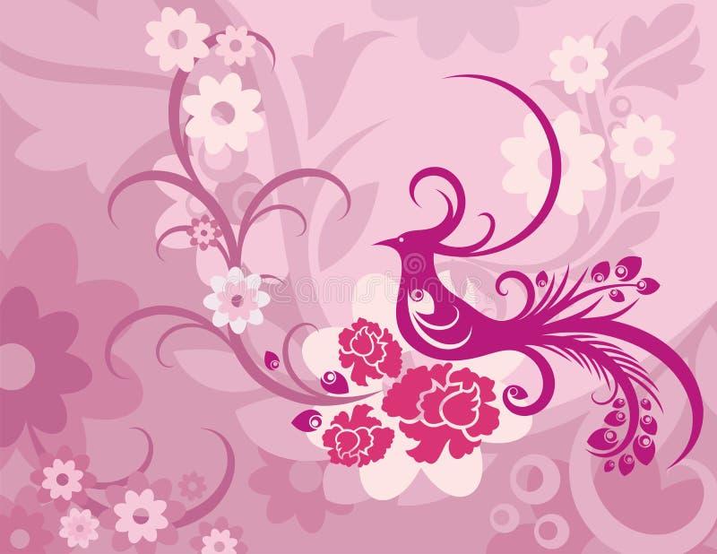 Bloemen van de Vogel Reeks Als achtergrond royalty-vrije illustratie