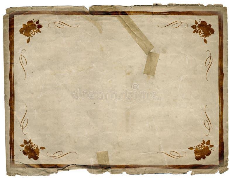 Bloemen van het Document van Grunge van de Grens Textuur Als achtergrond stock illustratie