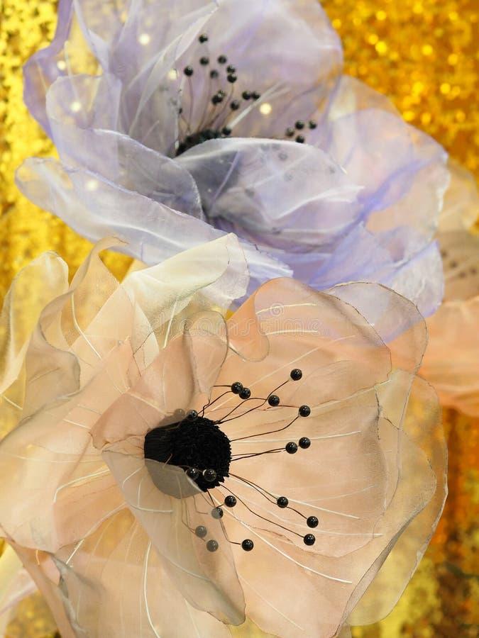 Bloemen van organza voor binnenhuisarchitectuur royalty-vrije stock afbeeldingen