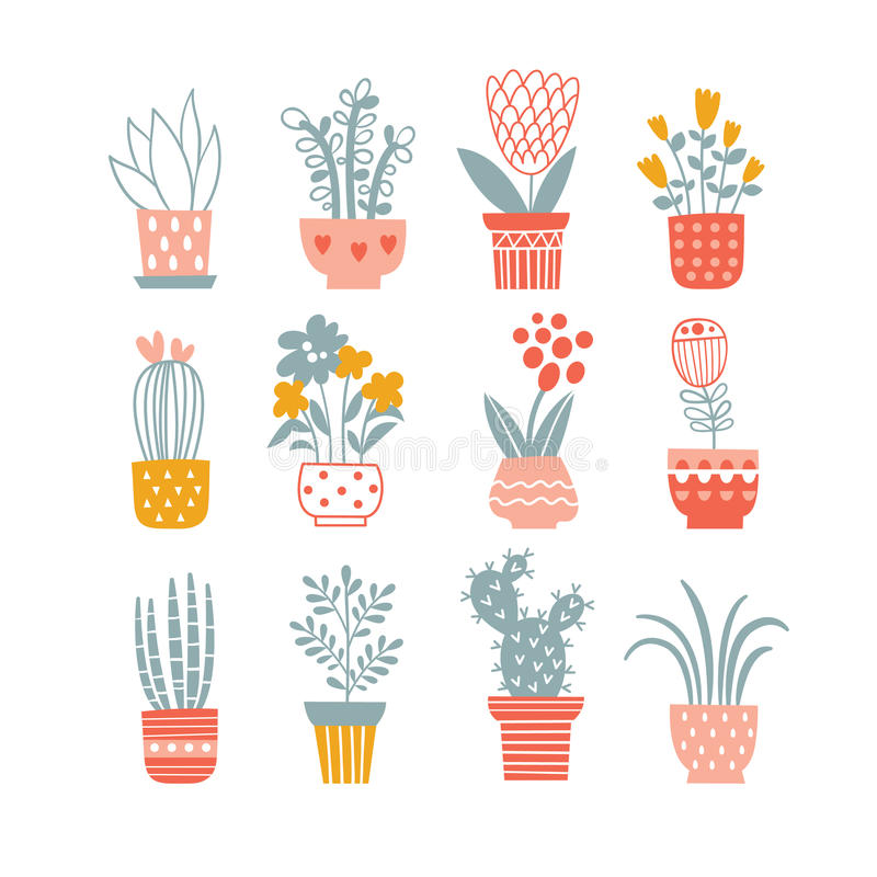 Bloemen in vazen royalty-vrije illustratie
