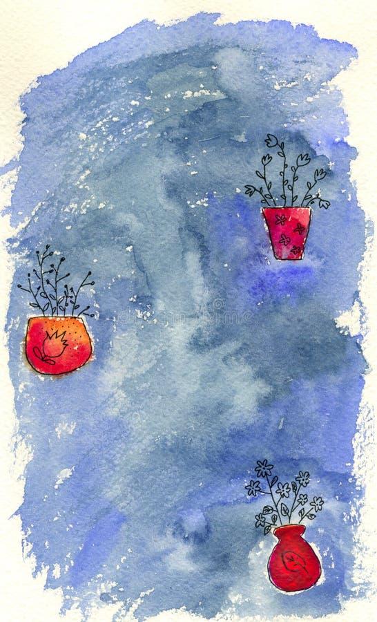 Bloemen in vazen stock illustratie