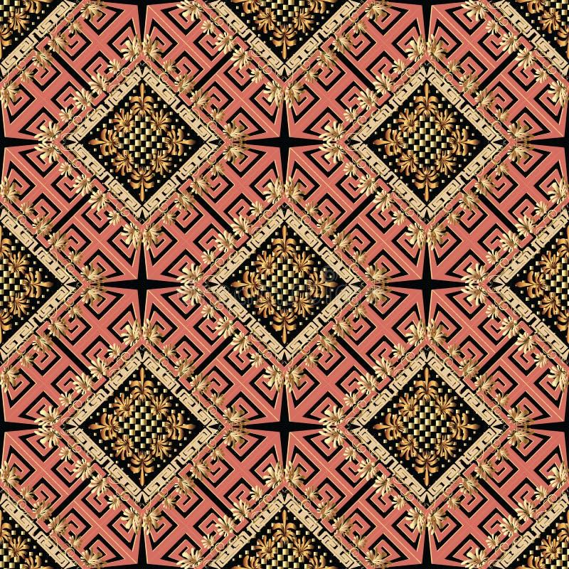 Bloemen vector Grieks naadloos patroon Gevormd geometrisch backgr royalty-vrije illustratie