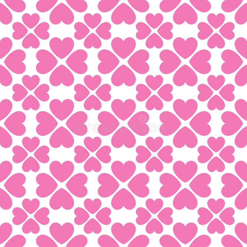 Bloemen vector naadloos patroon met hartvormen royalty-vrije illustratie