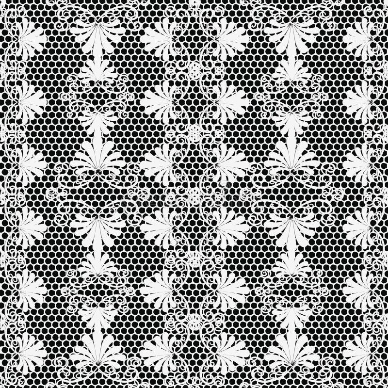 Bloemen vector naadloze patroon van de kant het geweven zwart-witte elegantie Sier Griekse de stijlachtergrond van het netrooster vector illustratie