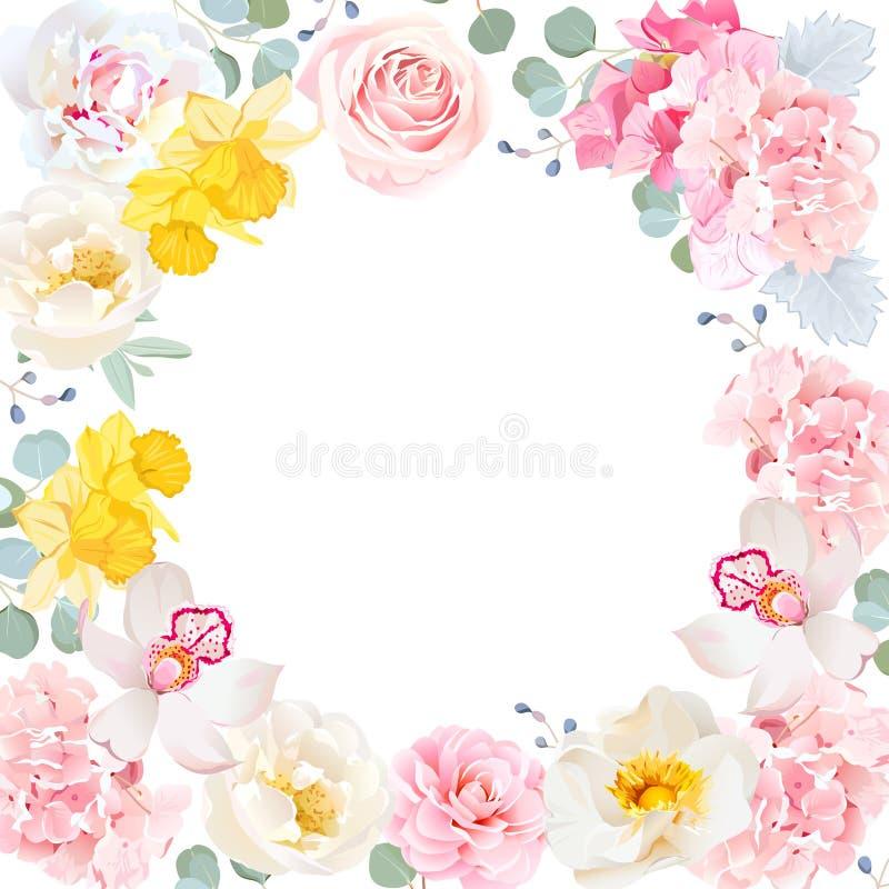 Bloemen vector rond kader Witte centrum en van de bloemenuitnodiging kaart royalty-vrije illustratie