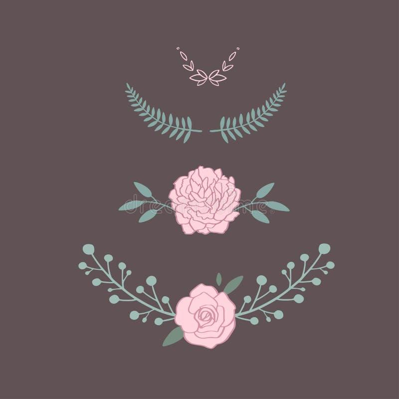 Bloemen vectorboeket met roze, pioen, anemoon, sakura, wilde bloemen Hand getrokken plattelander geïsoleerde voorwerpen decoratie stock illustratie