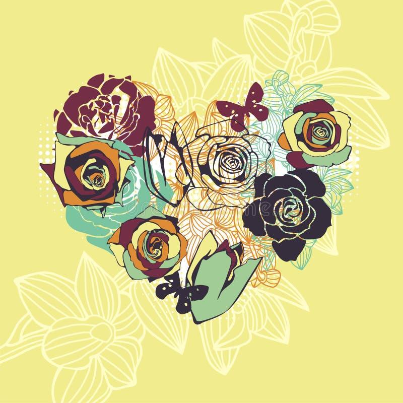 Download Bloemen vectorhart vector illustratie. Illustratie bestaande uit kleurrijk - 29501352