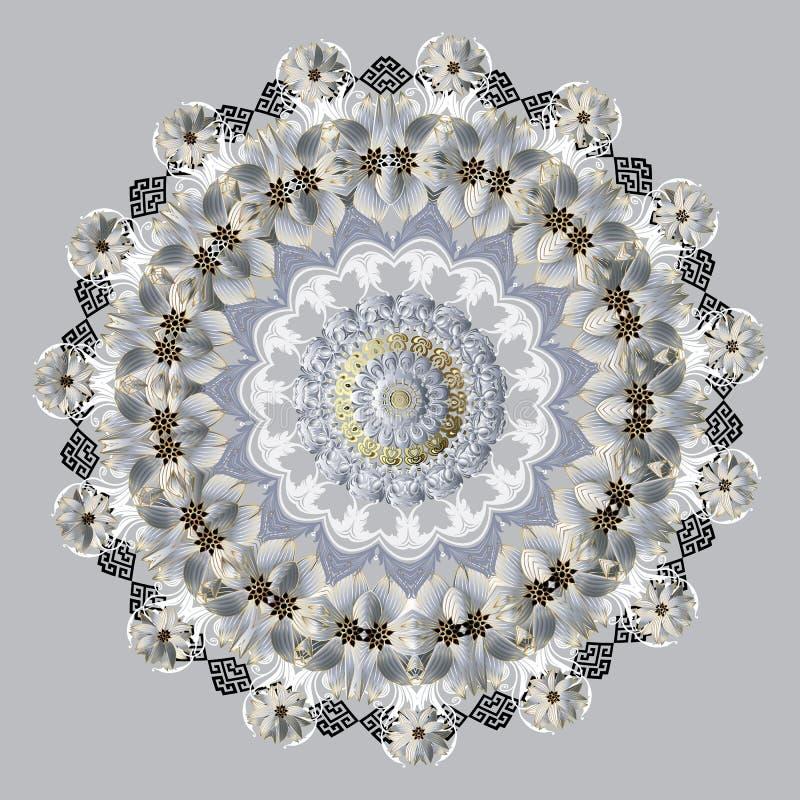 Bloemen vectormandalapatroon Sier bloei achtergrond Bloemrijk uitstekend rond ornament Overladen Textuur voor royalty-vrije illustratie