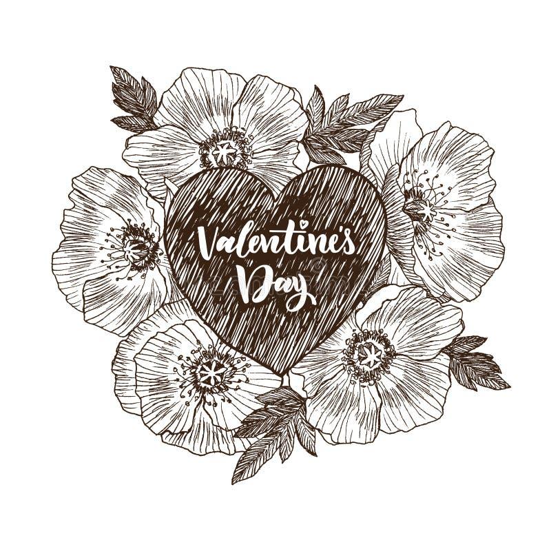 Bloemen vectorontwerpkader met groot hart De lineaire papaver van Californië bloeit getrokken en schets Hand getrokken huwelijksk vector illustratie