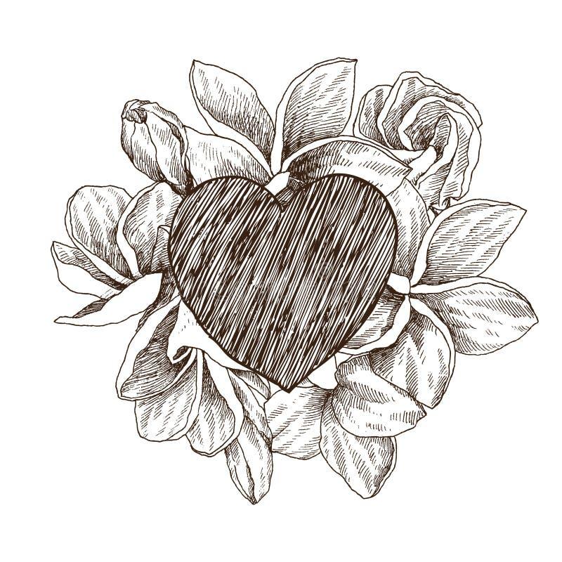 Bloemen vectorontwerpkader met groot hart Hand getrokken schets tropische bloem Plumeria Botanische illustratiegravure vector illustratie