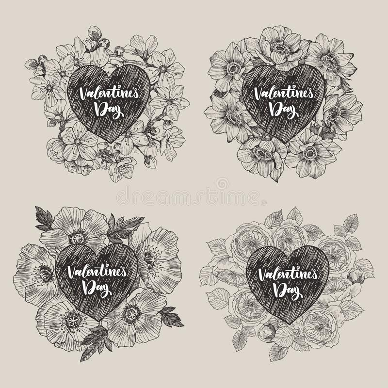 Bloemen vectorontwerpkader met groot hart Kersenbloemen en bladeren, anemonen, papaver, rozen Hand getrokken huwelijkskaart stock illustratie