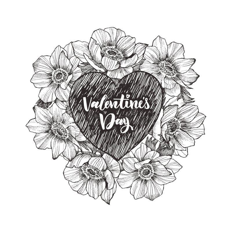 Bloemen vectorontwerpkader met groot hart Lineaire anemoon Hand getrokken huwelijkskaart Het concept van de Dag van valentijnskaa vector illustratie