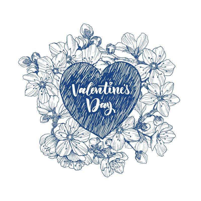 Bloemen vectorontwerpkader met groot hart Lineaire kersenbloemen en bladeren Hand getrokken huwelijkskaart Rood nam toe stock illustratie