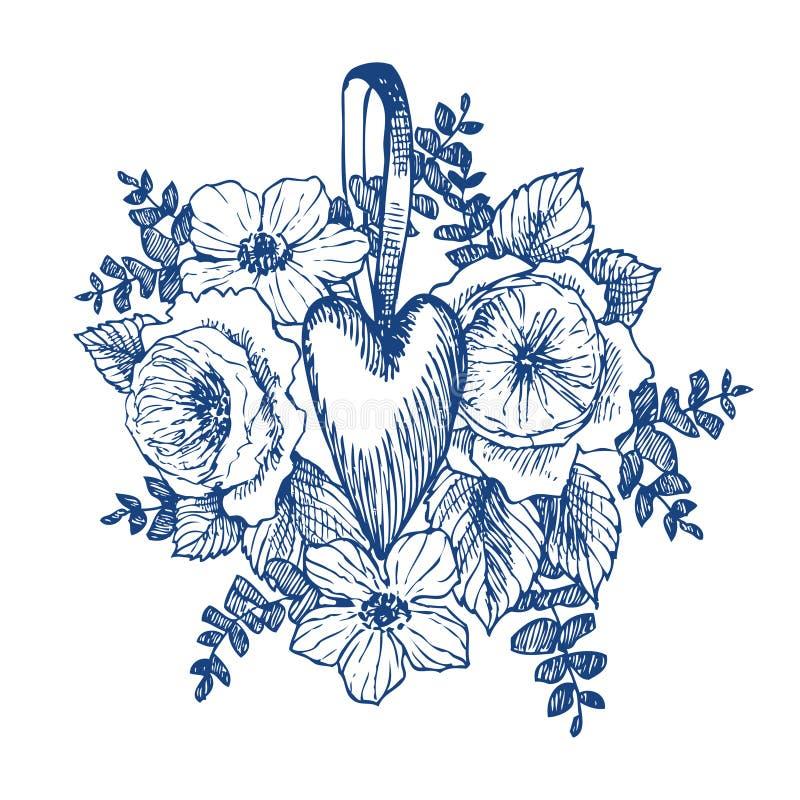 Bloemen vectorontwerpkader met groot hart Lineaire rozen, eucalyptus, bessen, bladeren Hand getrokken huwelijkskaart royalty-vrije illustratie