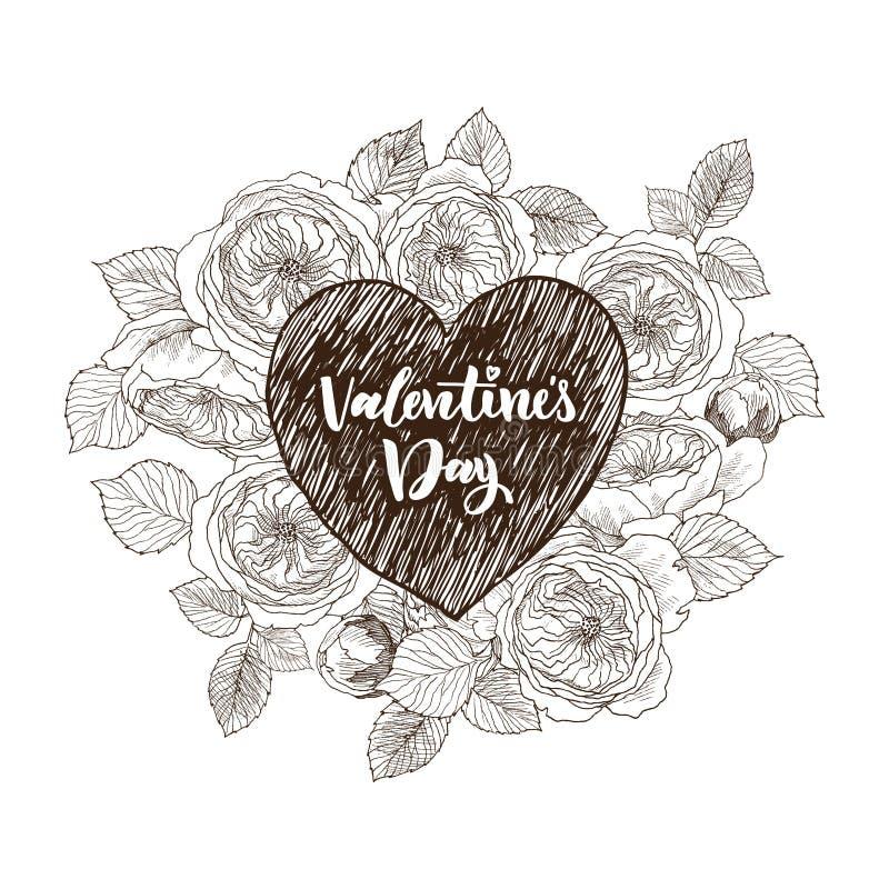 Bloemen vectorontwerpkader met groot hart Lineaire rozen, eucalyptus, bessen, bladeren Hand getrokken huwelijkskaart vector illustratie