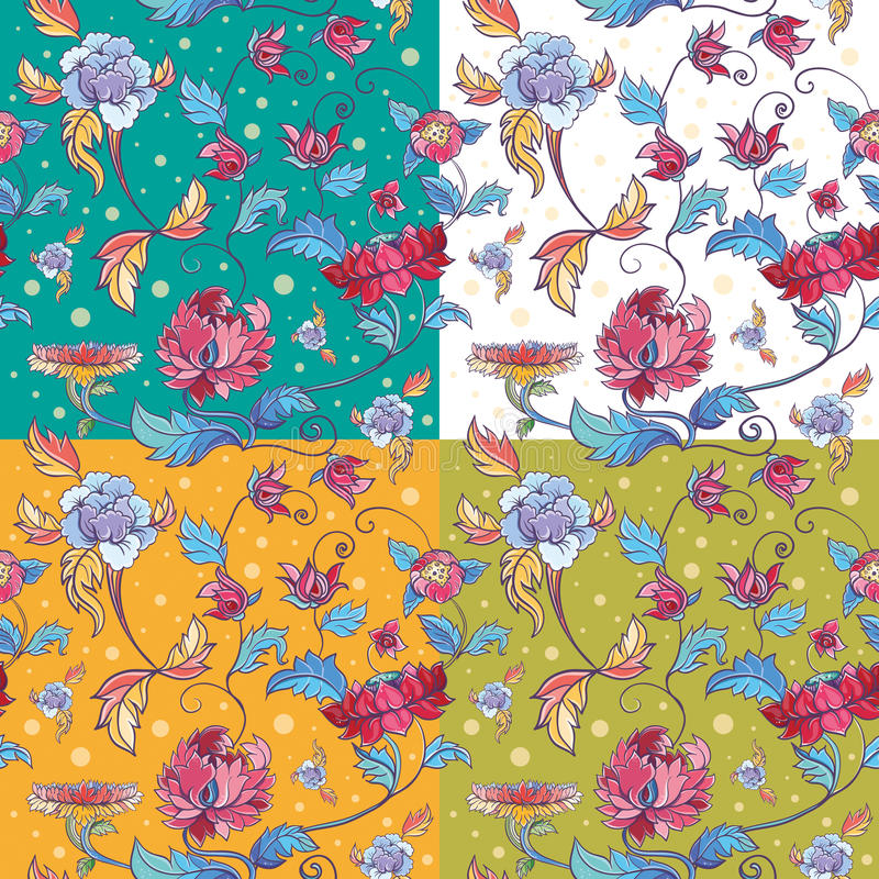 Bloemen vectorpatroon met lotuses en pioenen vector illustratie