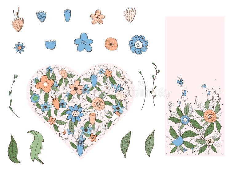Bloemen vectorsamenstelling in krabbelstijl vector illustratie