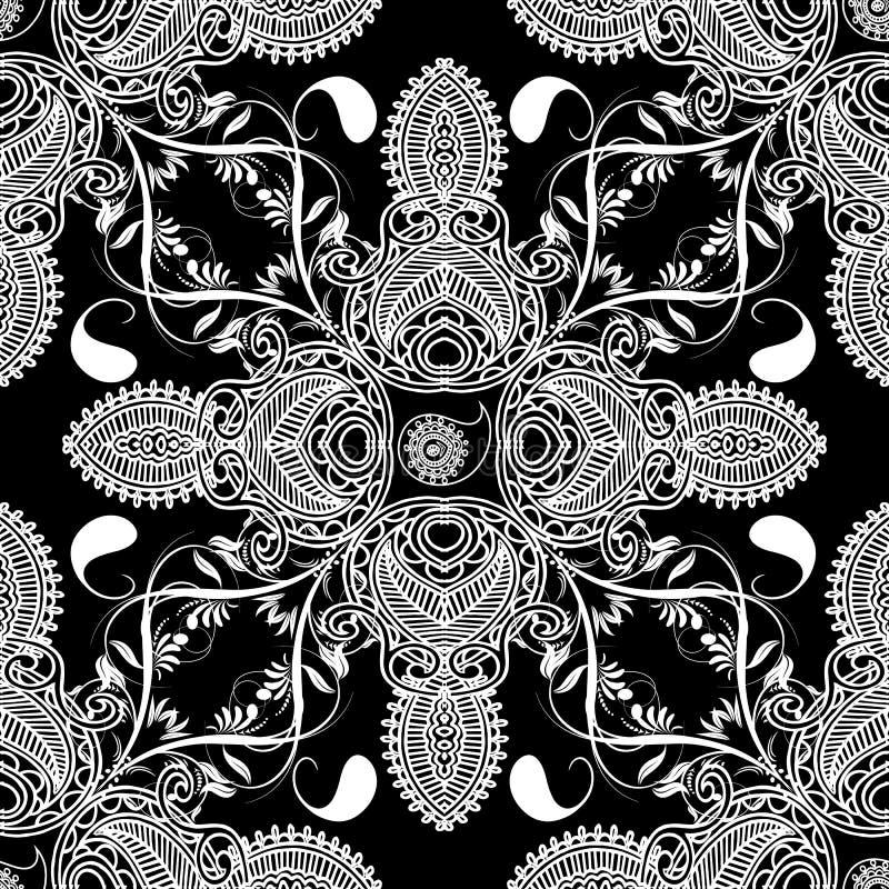 Bloemen vectorseamlespatroon van Paisley stock illustratie