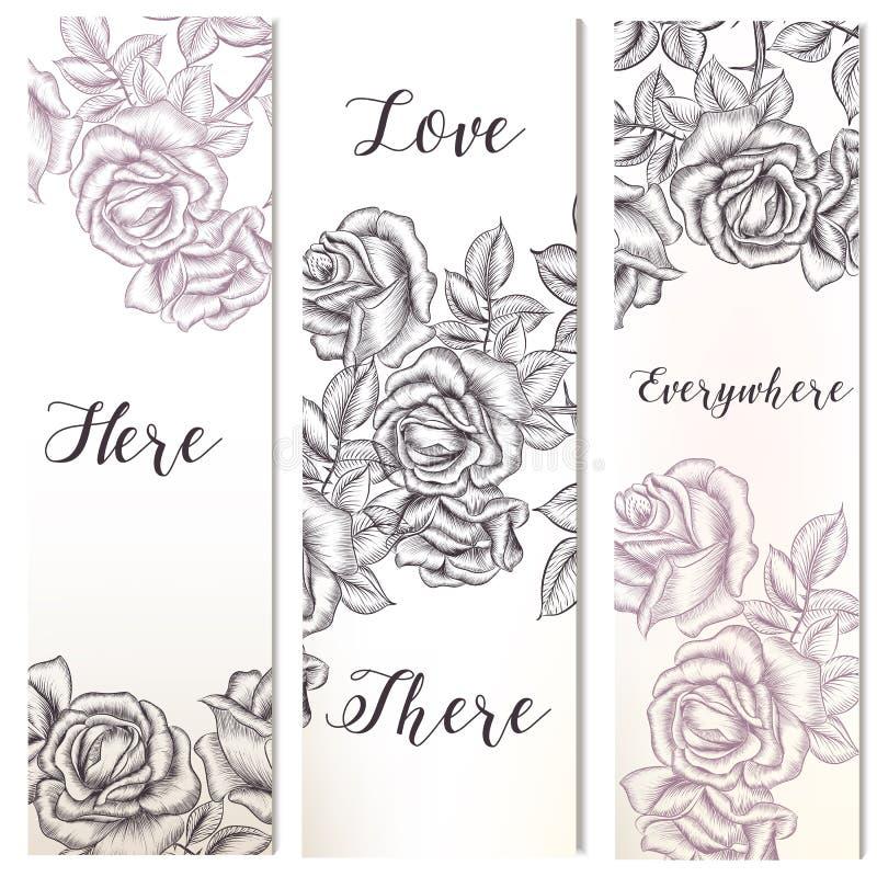 Bloemen verticale die brochures met getrokken hand worden geplaatst vector illustratie