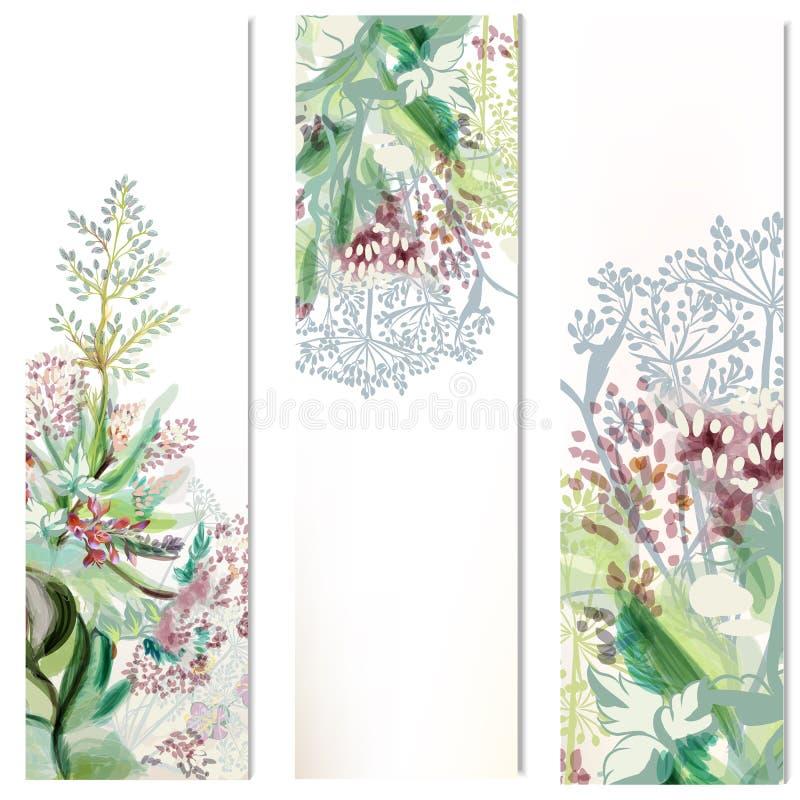 Bloemen verticale die brochures met installatie worden geplaatst royalty-vrije illustratie
