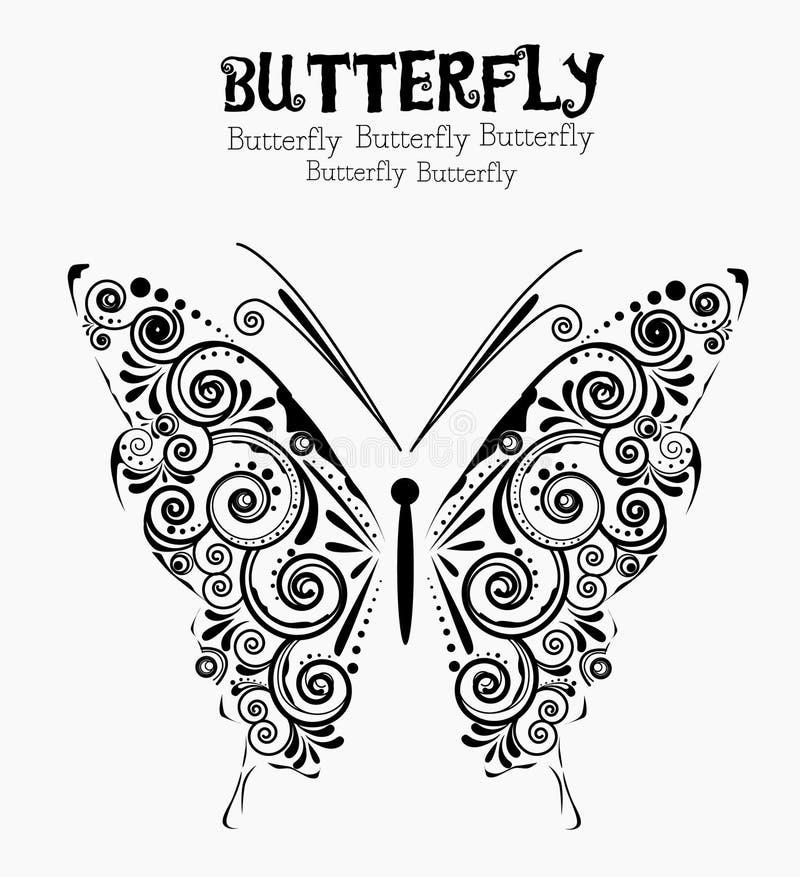 Bloemen vlinder stock illustratie