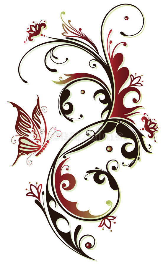 Bloemen, vlinder, wijnoogst vector illustratie
