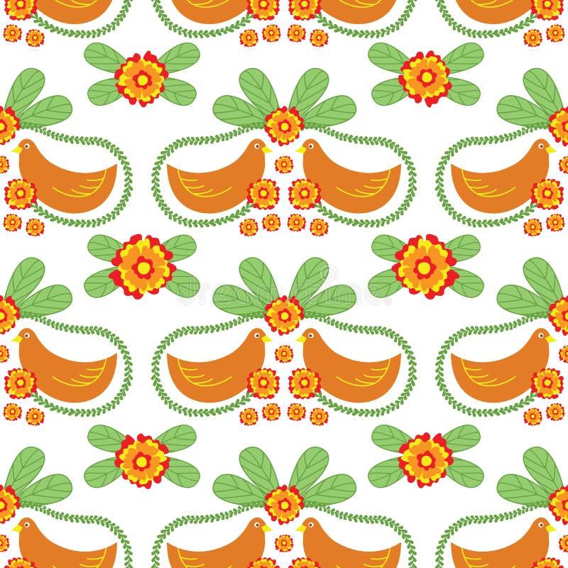 Bloemen Volks Vector Naadloos Patroon met Vogels vector illustratie