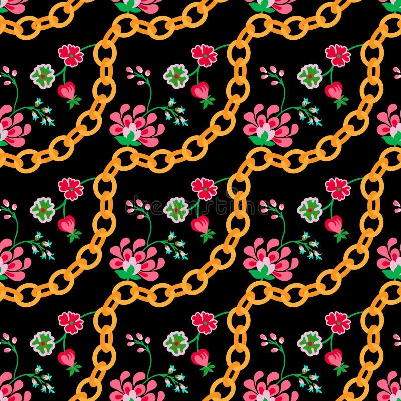 Bloemen volkspatroon met gouden kettingen vector illustratie