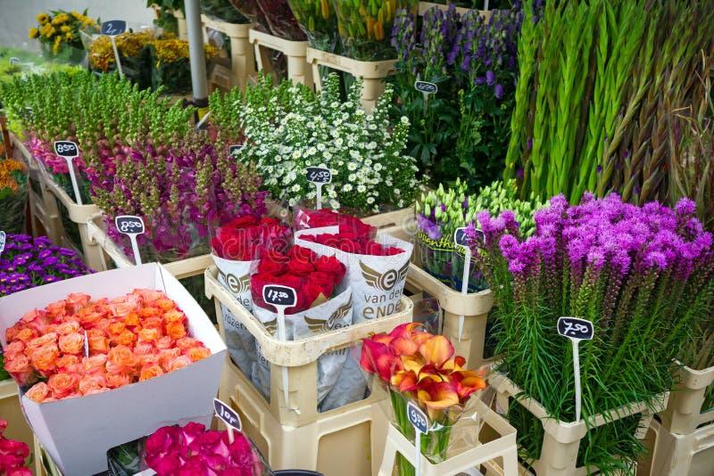 Bloemen voor verkoop bij een Nederlandse bloemmarkt, Amsterdam, Nederland, 12 Oktober, 2017 royalty-vrije stock foto's