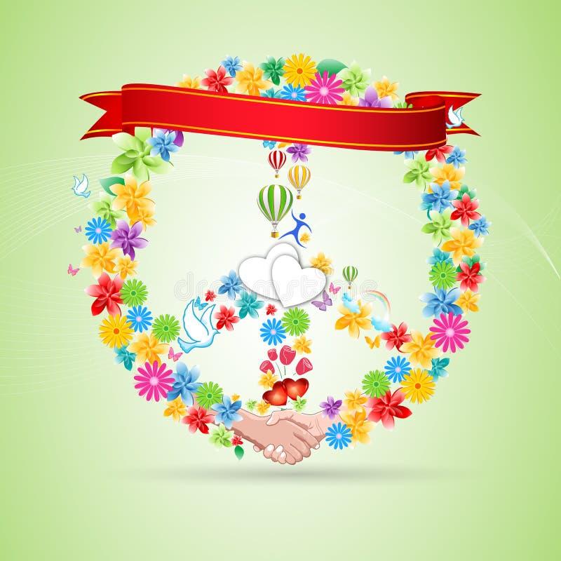Bloemen vredeskaart stock illustratie
