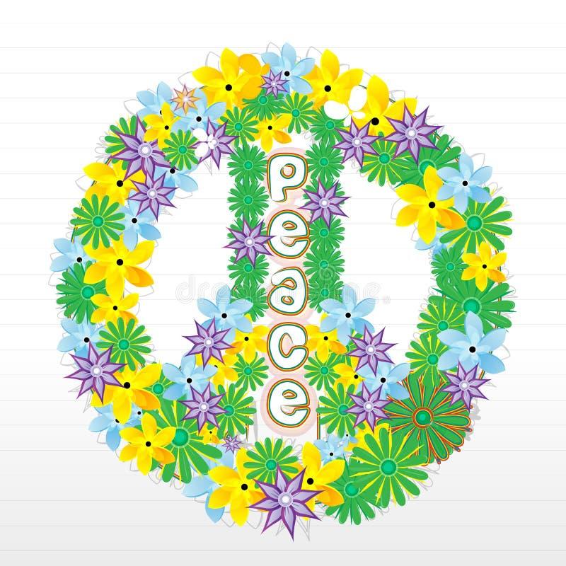 Bloemen vredesteken stock illustratie