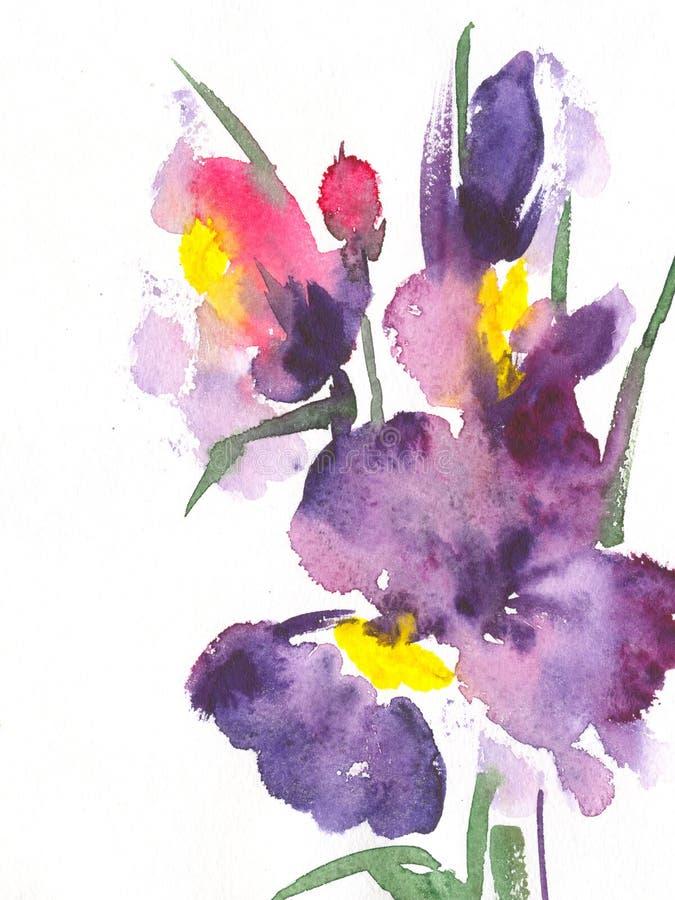 Bloemen waterverfillustratie stock illustratie
