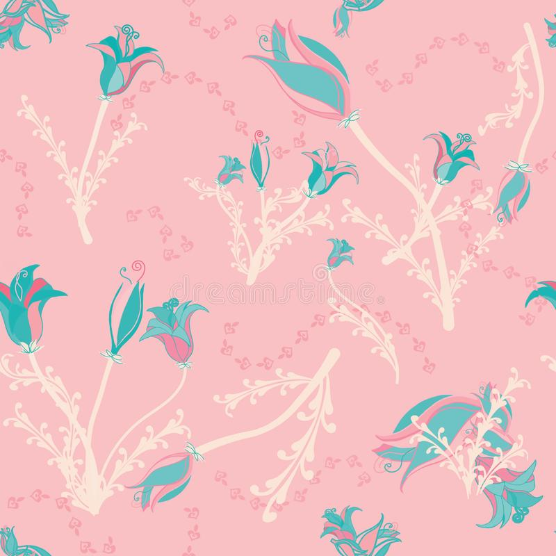 Bloemen in wintertaling op roze royalty-vrije illustratie