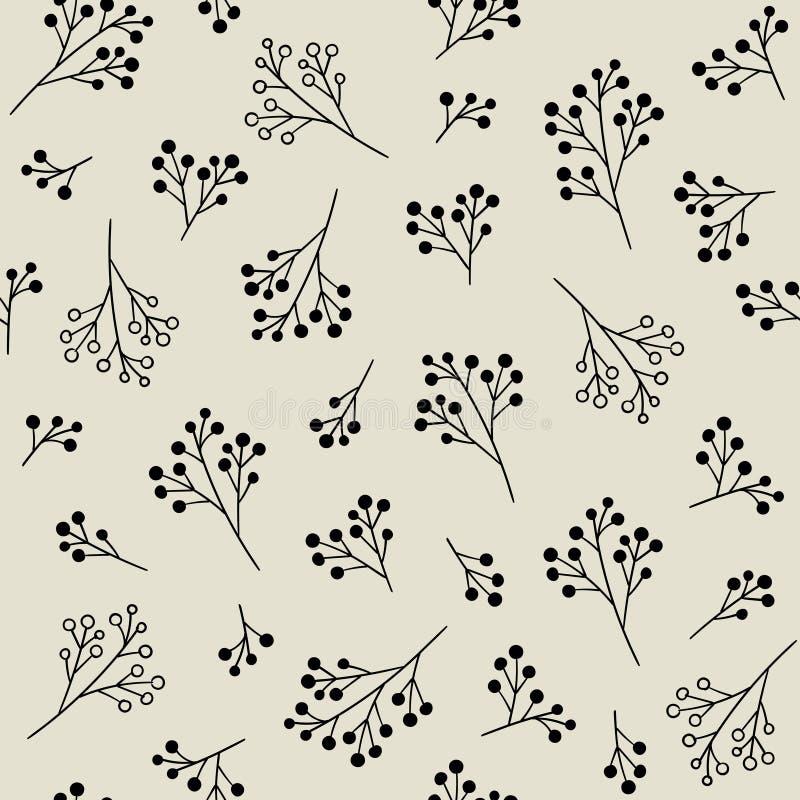 Bloemen Zwart-wit Naadloos Patroon Vectorachtergrond met bessen vector illustratie